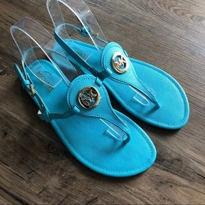 Michea Kors Sandal Thing Turquoise Blue T-Strap 9